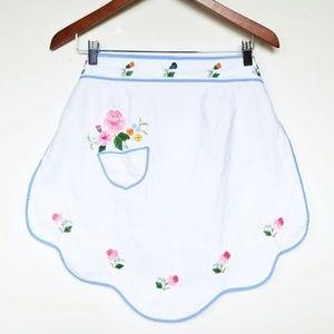 Vintage Hand-Embroidered Floral Apron